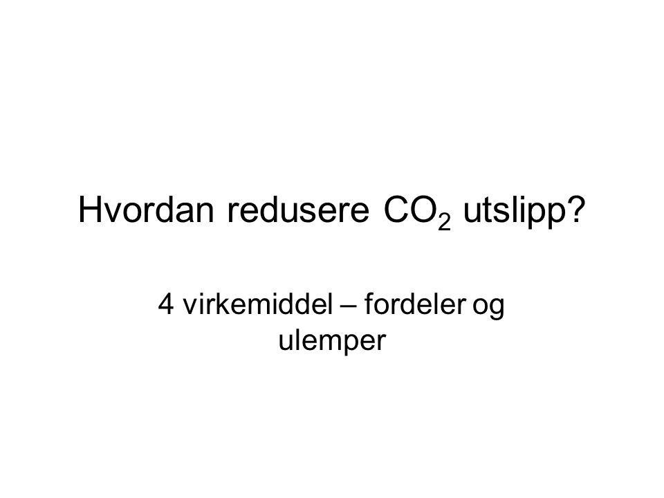 Hvordan redusere CO 2 utslipp? 4 virkemiddel – fordeler og ulemper