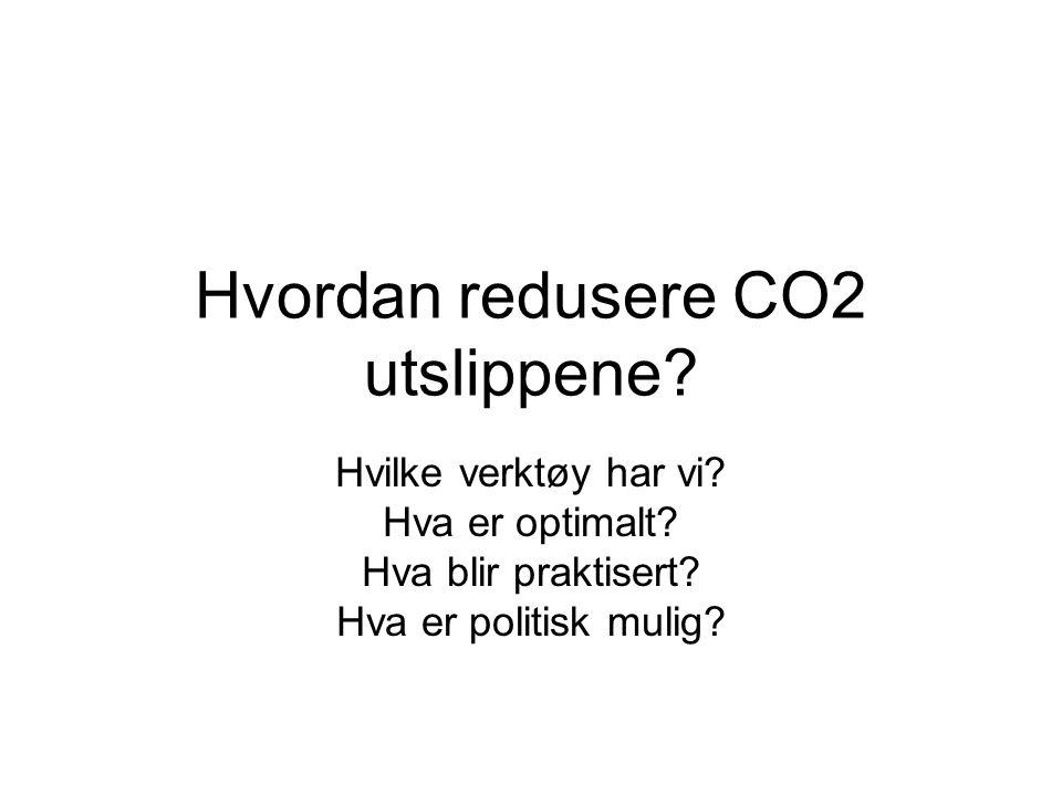 Hvordan redusere CO2 utslippene.Hvilke verktøy har vi.