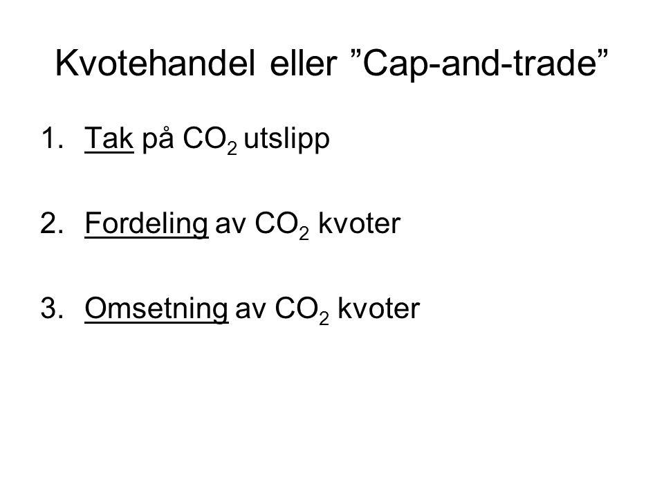 Kvotehandel eller Cap-and-trade 1.Tak på CO 2 utslipp 2.Fordeling av CO 2 kvoter 3.Omsetning av CO 2 kvoter