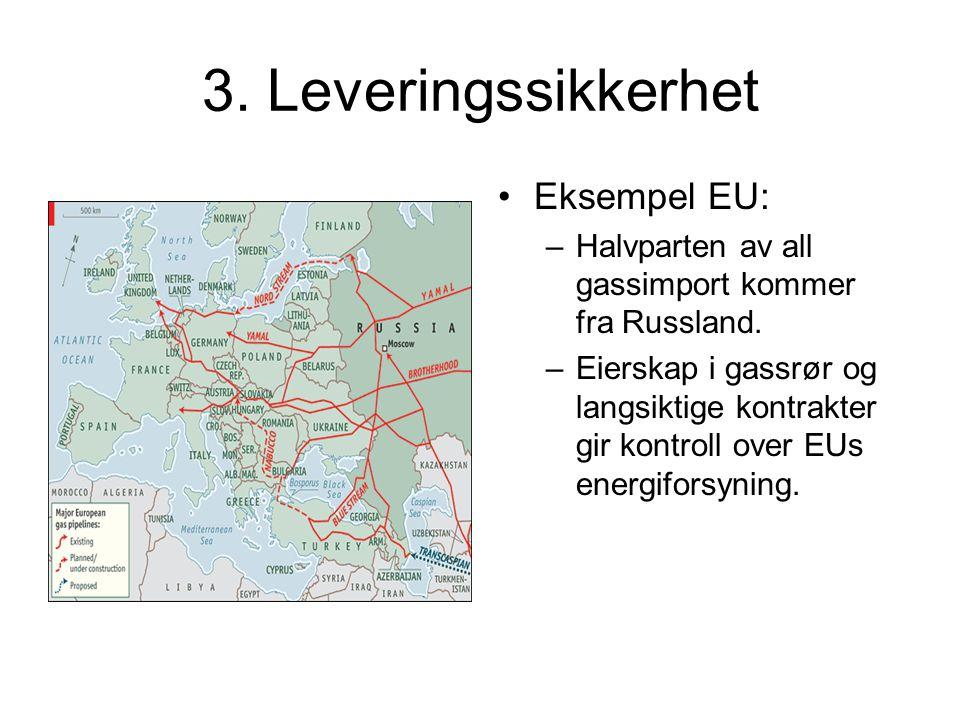 3.Leveringssikkerhet Eksempel EU: –Halvparten av all gassimport kommer fra Russland.