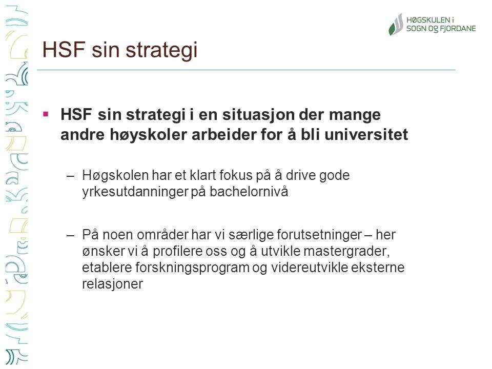 HSF sin strategi  HSF sin strategi i en situasjon der mange andre høyskoler arbeider for å bli universitet –Høgskolen har et klart fokus på å drive gode yrkesutdanninger på bachelornivå –På noen områder har vi særlige forutsetninger – her ønsker vi å profilere oss og å utvikle mastergrader, etablere forskningsprogram og videreutvikle eksterne relasjoner