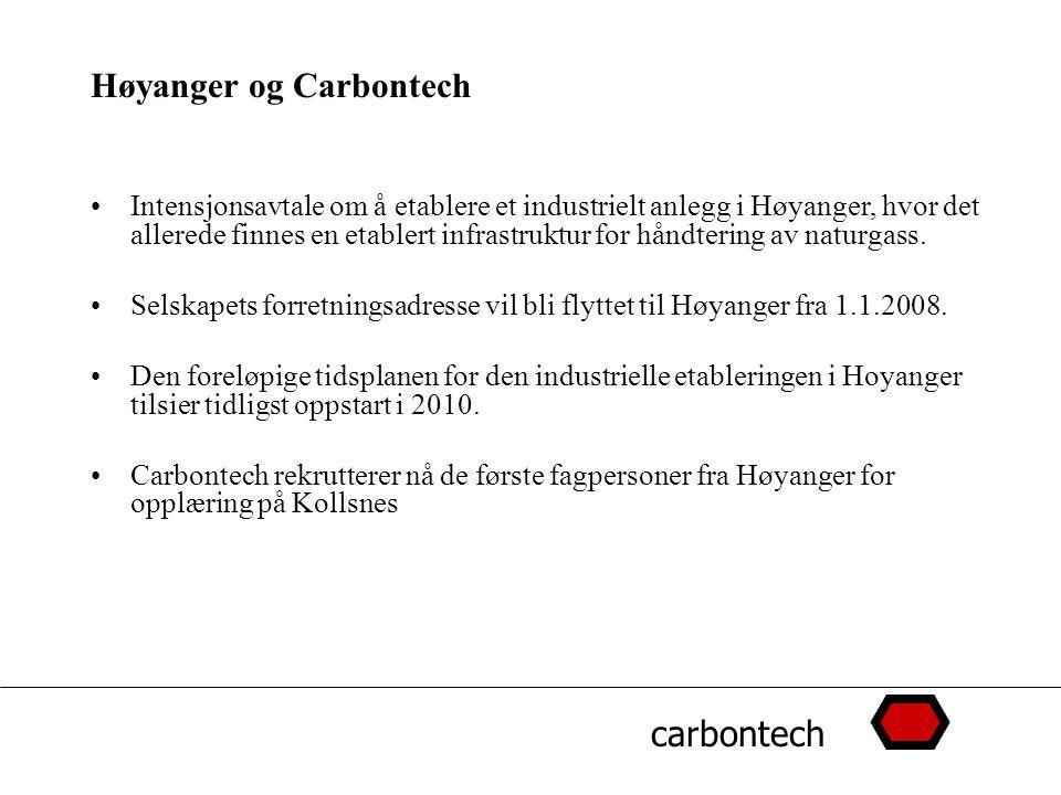 carbontech Høyanger og Carbontech Intensjonsavtale om å etablere et industrielt anlegg i Høyanger, hvor det allerede finnes en etablert infrastruktur for håndtering av naturgass.