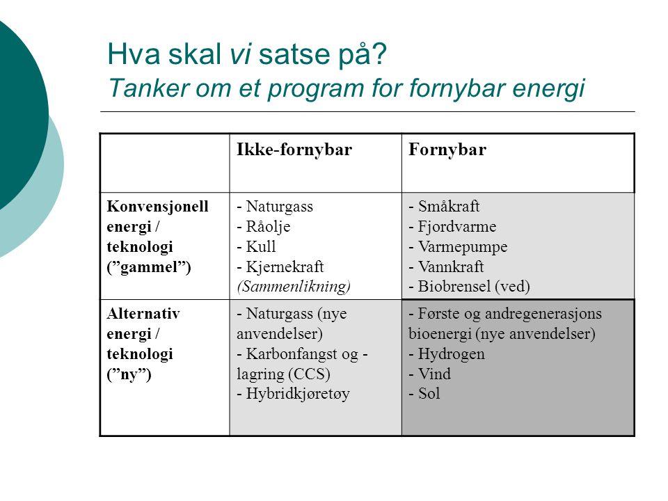 Miljøvennlig energiproduksjon og - forbruk  Gjøre ting bedre (effektivisering) Produksjon: Mindre ledningstap Forbruk: Drivstoffgjerrige biler  Gjøre ting annerledes (substituering) Produksjon: Fornybar energi Forbruk: Kjøpe pelletsovn eller investere i fjordvarme  Gjøre mindre ting (reduksjon) Produksjon: Produsere mindre energi Forbruk: Senke innetemperatur eller bygge mindre boliger