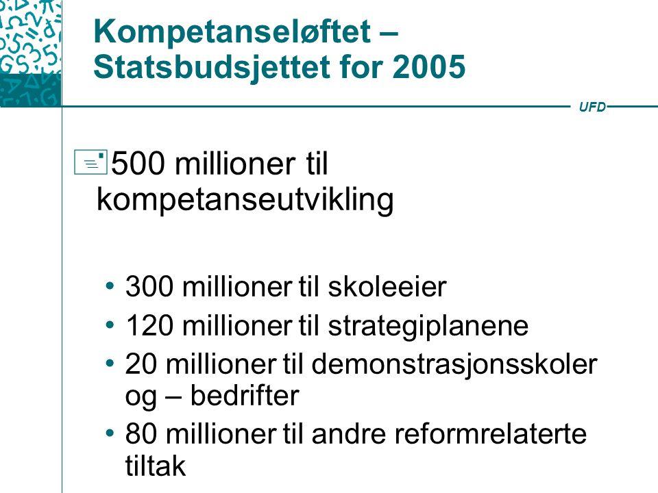 UFD Kompetanseløftet – Statsbudsjettet for 2005  500 millioner til kompetanseutvikling 300 millioner til skoleeier 120 millioner til strategiplanene