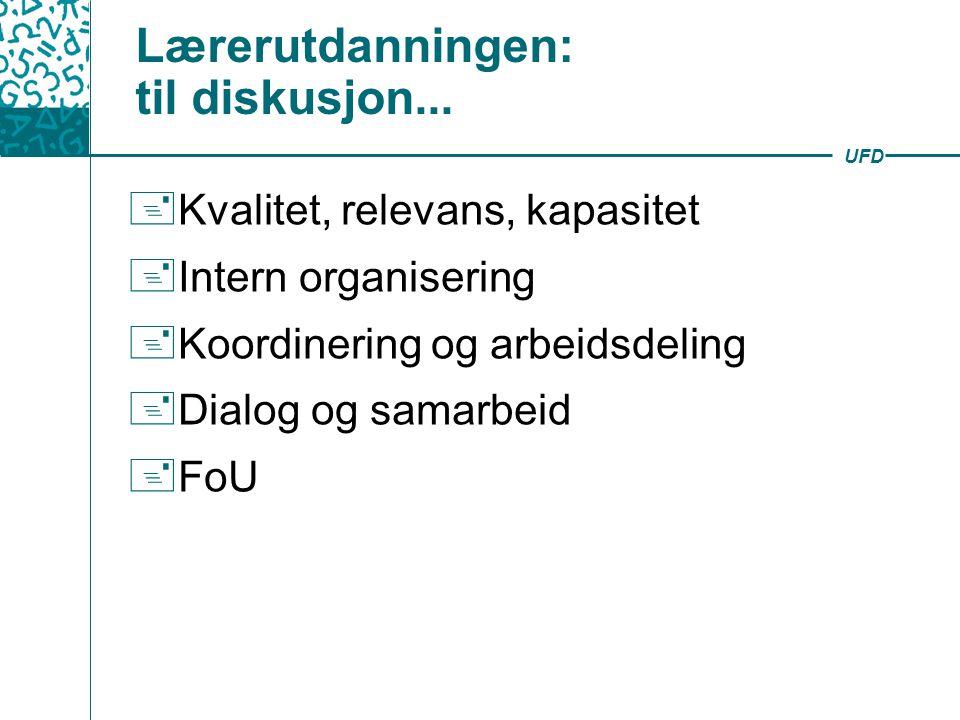 UFD Lærerutdanningen: til diskusjon...  Kvalitet, relevans, kapasitet  Intern organisering  Koordinering og arbeidsdeling  Dialog og samarbeid  F