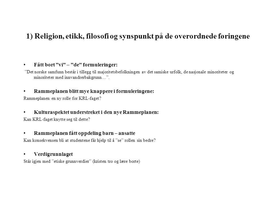 1) Religion, etikk, filosofi og synspunkt på de overordnede føringene Fått bort vi – de formuleringer: Det norske samfunn består i tillegg til majoritetsbefolkningen av det samiske urfolk, de nasjonale minoriteter og minoriteter med innvandrerbakgrunn… .