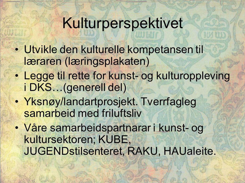 Kulturperspektivet Utvikle den kulturelle kompetansen til læraren (læringsplakaten) Legge til rette for kunst- og kulturoppleving i DKS…(generell del)