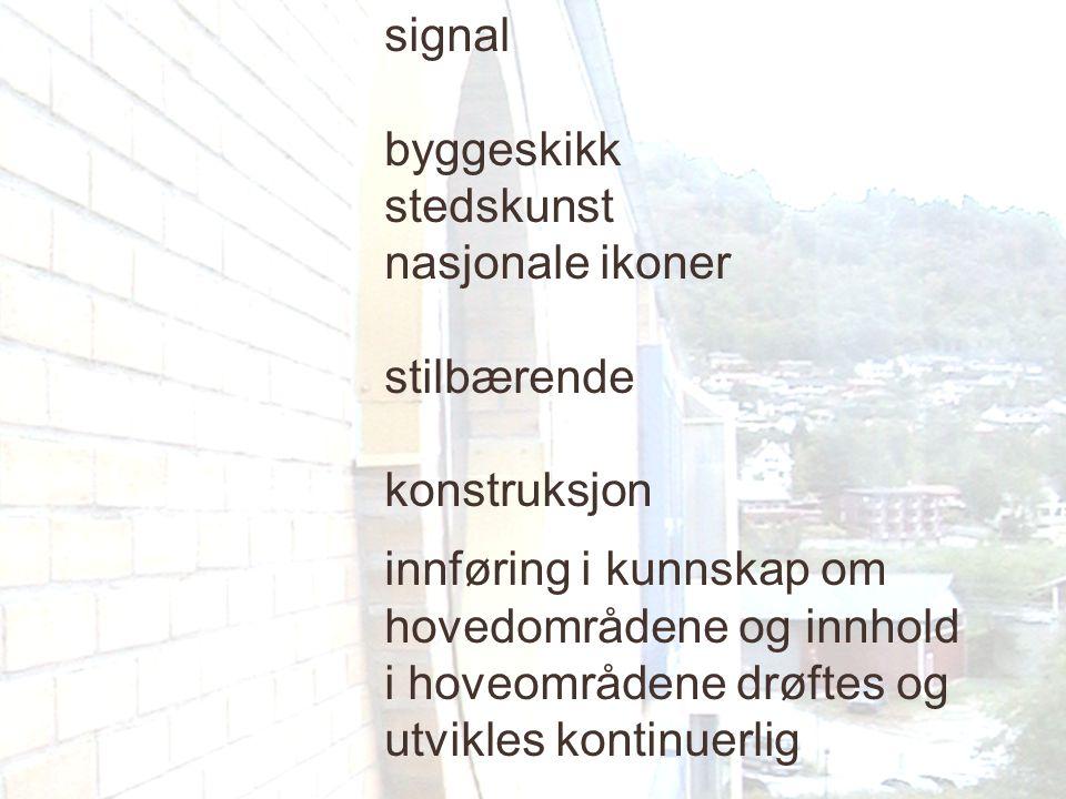 signal byggeskikk stedskunst nasjonale ikoner stilbærende konstruksjon innføring i kunnskap om hovedområdene og innhold i hoveområdene drøftes og utvi