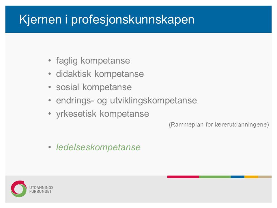 Kjernen i profesjonskunnskapen faglig kompetanse didaktisk kompetanse sosial kompetanse endrings- og utviklingskompetanse yrkesetisk kompetanse (Rammeplan for lærerutdanningene) ledelseskompetanse