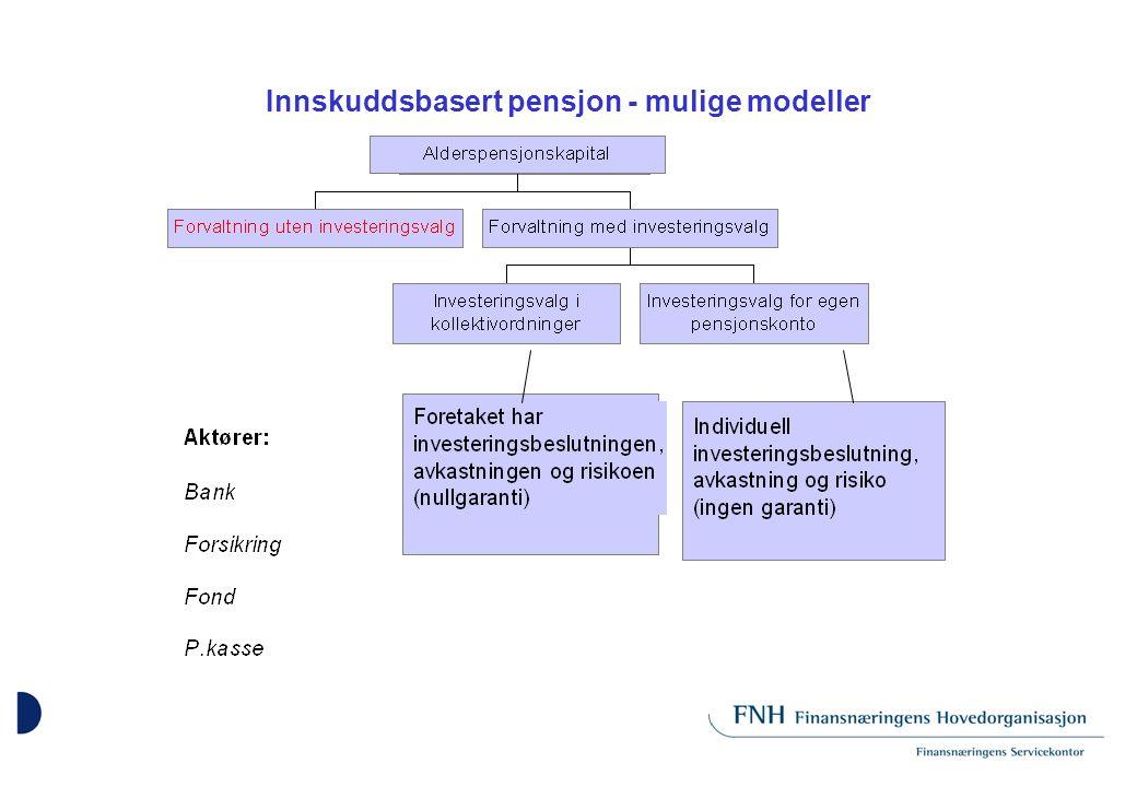 Innskuddsbasert pensjon - mulige modeller