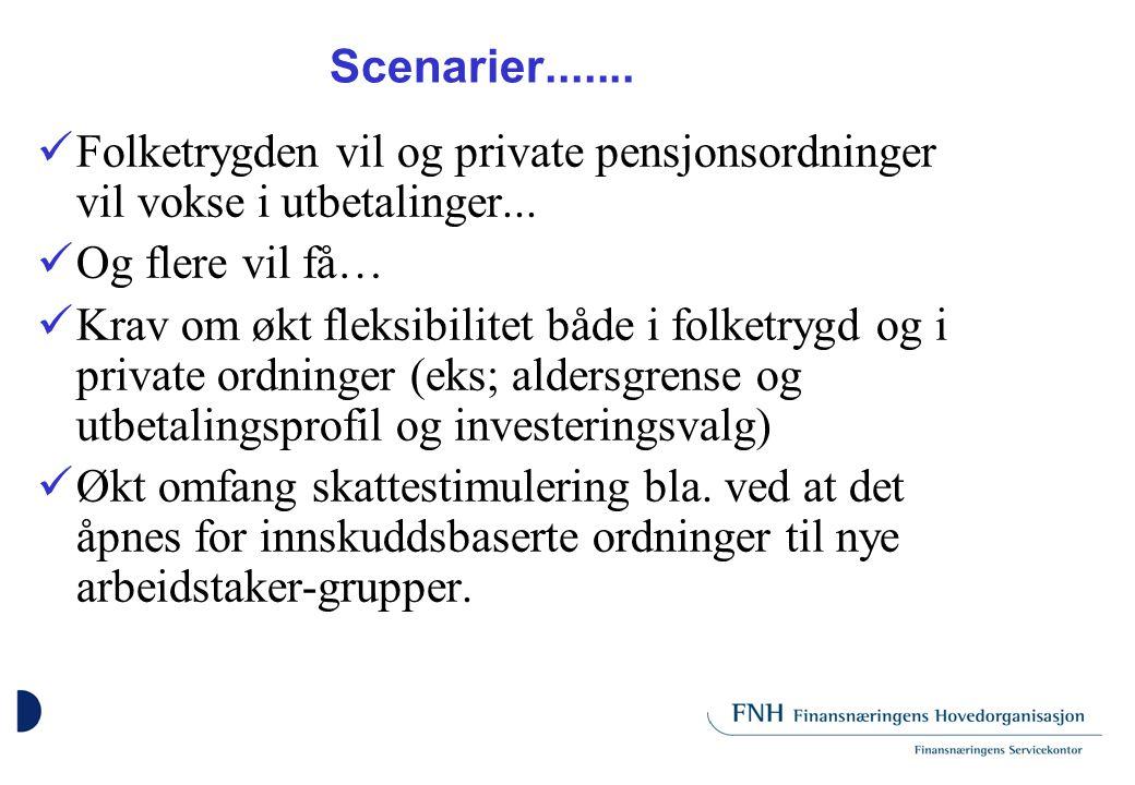 Scenarier....... Folketrygden vil og private pensjonsordninger vil vokse i utbetalinger...