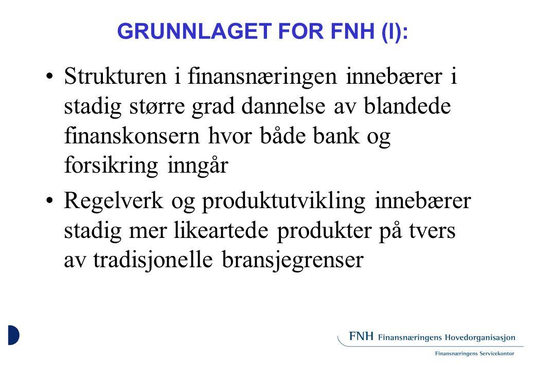 GRUNNLAGET FOR FNH (ll) Tilsynsmyndigheten er samlet hos en offentlig instans, Kredittilsynet Økende internasjonalisering, konkurranseforhold og regelverk stiller bank og forsikring overfor felles og/eller likeartede utfordringer både hjemme og ute også på det næringspolitiske felt