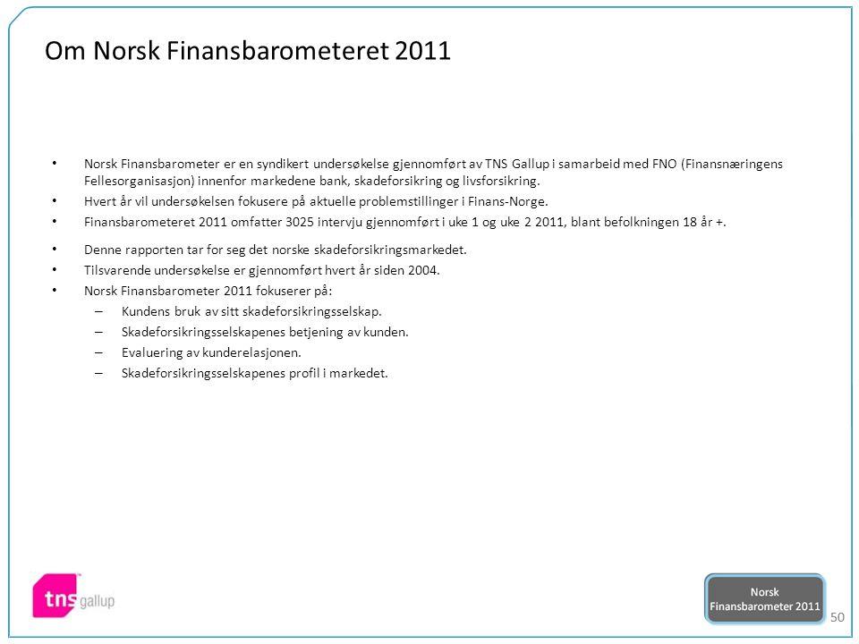 50 Om Norsk Finansbarometeret 2011 Norsk Finansbarometer er en syndikert undersøkelse gjennomført av TNS Gallup i samarbeid med FNO (Finansnæringens Fellesorganisasjon) innenfor markedene bank, skadeforsikring og livsforsikring.