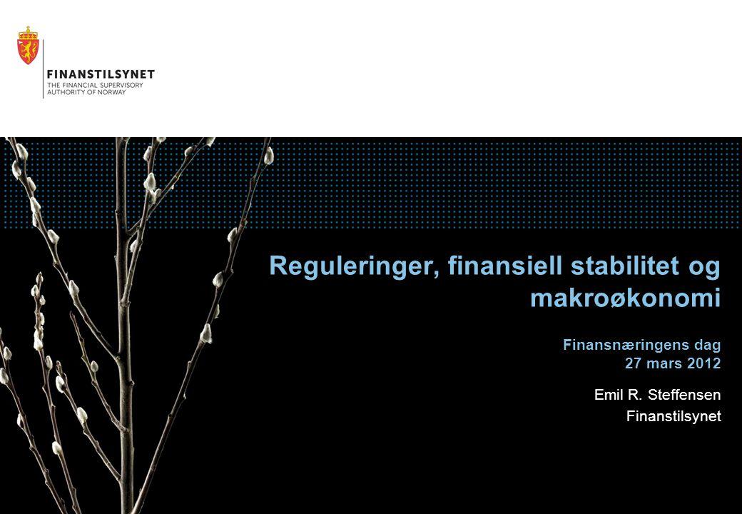 Agenda Finanskrisens ulike stadier Situasjonen i dag og norsk finanssektor Reguleringer, makroovervåking og tilsyn 27.