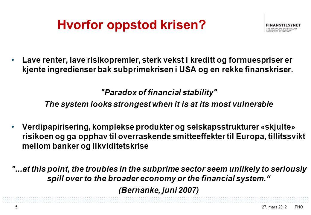 Kilde: Thomson Reuters Datastream Statsgjeldskrise og bankkrise