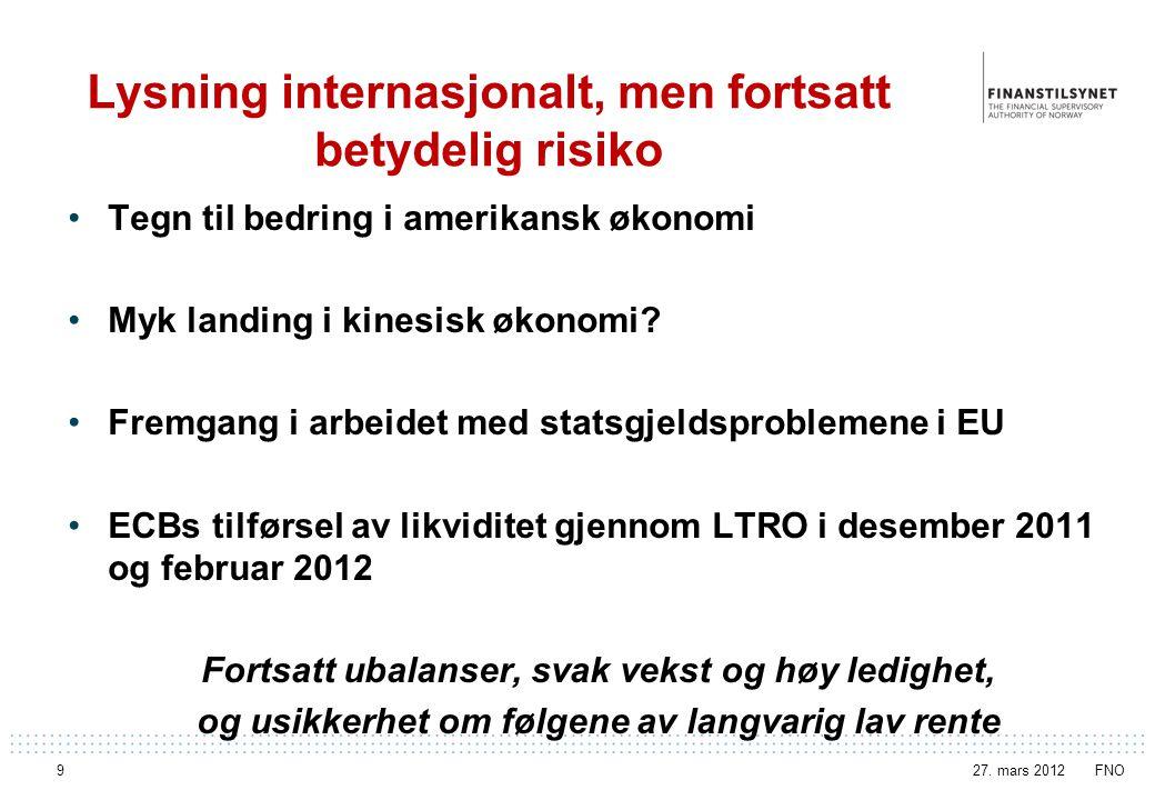 Kapitaldekning i norske banker Banker og boligkredittforetak 27. mars 2012 FNO Side 20