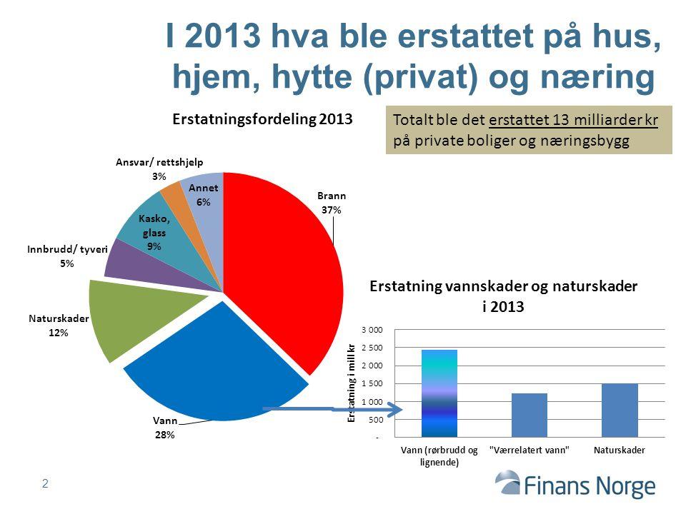 2 I 2013 hva ble erstattet på hus, hjem, hytte (privat) og næring Totalt ble det erstattet 13 milliarder kr på private boliger og næringsbygg