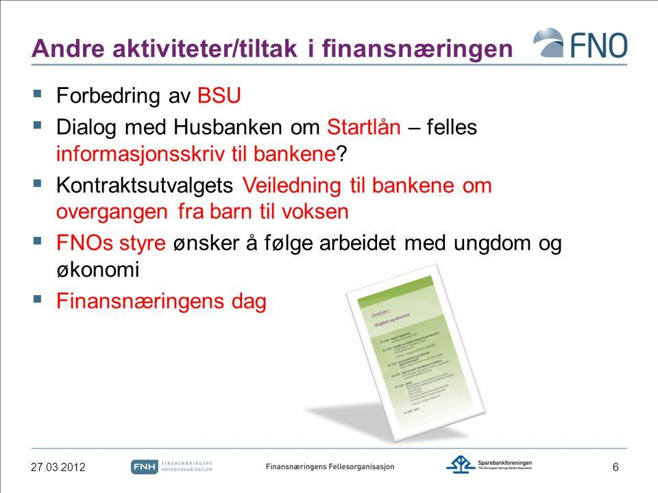 Andre aktiviteter/tiltak i finansnæringen  Forbedring av BSU  Dialog med Husbanken om Startlån – felles informasjonsskriv til bankene?  Kontraktsut