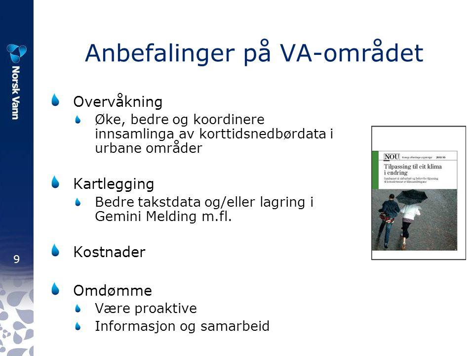 9 Anbefalinger på VA-området Overvåkning Øke, bedre og koordinere innsamlinga av korttidsnedbørdata i urbane områder Kartlegging Bedre takstdata og/eller lagring i Gemini Melding m.fl.