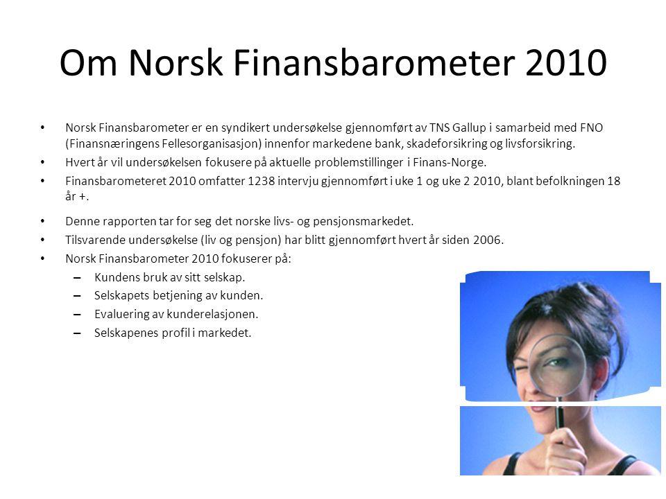 Om Norsk Finansbarometer 2010 Norsk Finansbarometer er en syndikert undersøkelse gjennomført av TNS Gallup i samarbeid med FNO (Finansnæringens Fellesorganisasjon) innenfor markedene bank, skadeforsikring og livsforsikring.
