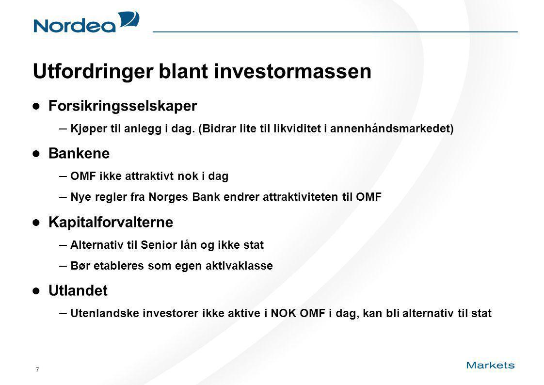 7 Utfordringer blant investormassen Forsikringsselskaper – Kjøper til anlegg i dag.