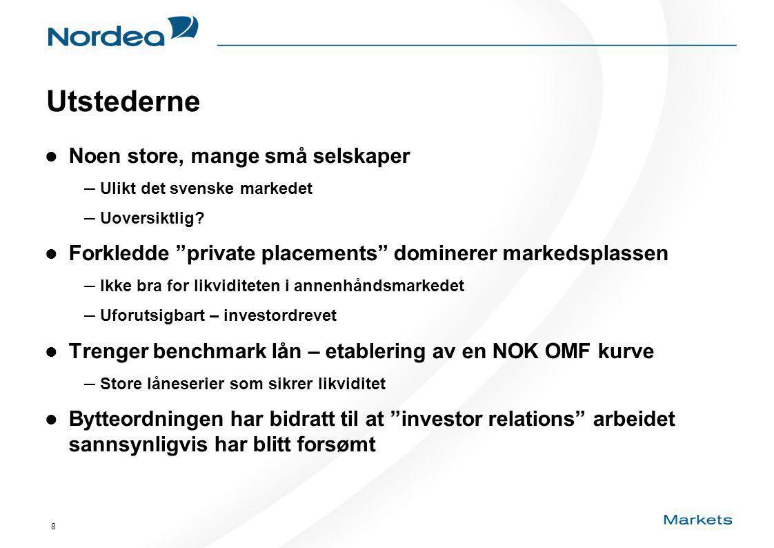 8 Utstederne Noen store, mange små selskaper – Ulikt det svenske markedet – Uoversiktlig.