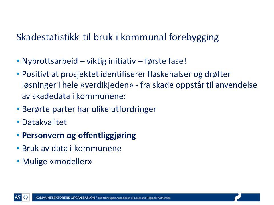Skadestatistikk til bruk i kommunal forebygging Nybrottsarbeid – viktig initiativ – første fase.