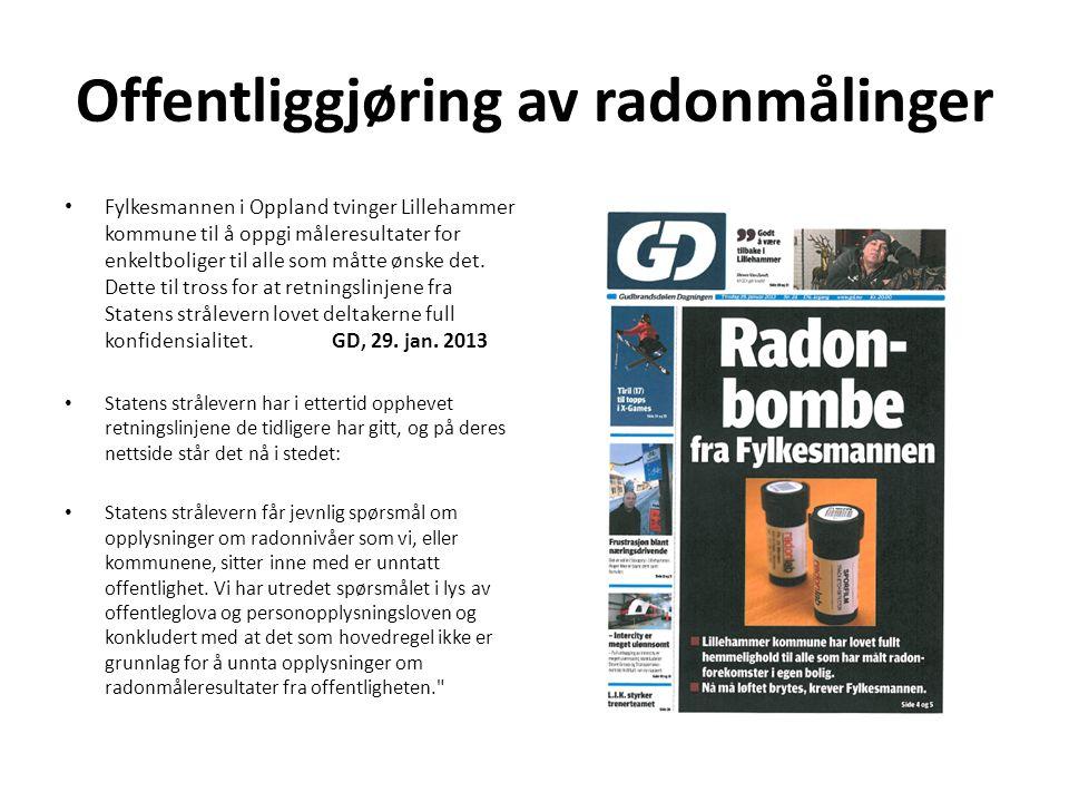Offentliggjøring av radonmålinger Fylkesmannen i Oppland tvinger Lillehammer kommune til å oppgi måleresultater for enkeltboliger til alle som måtte ønske det.