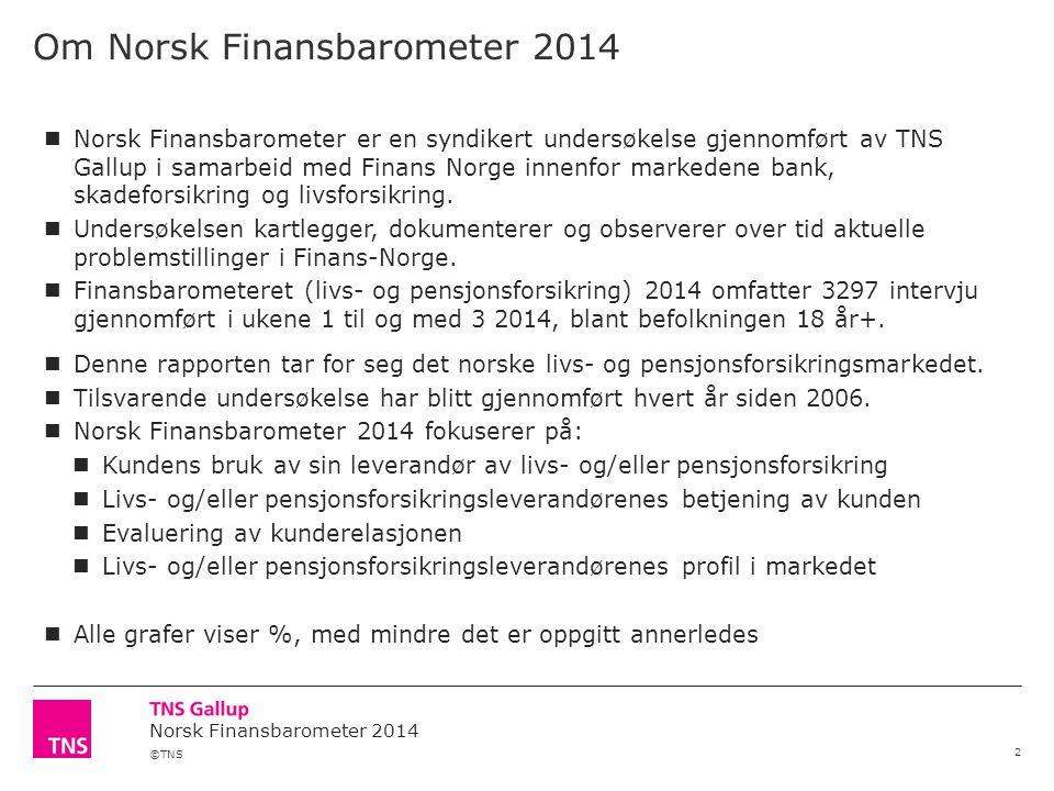 ©TNS Norsk Finansbarometer 2014 Om Norsk Finansbarometer 2014 2 Norsk Finansbarometer er en syndikert undersøkelse gjennomført av TNS Gallup i samarbeid med Finans Norge innenfor markedene bank, skadeforsikring og livsforsikring.