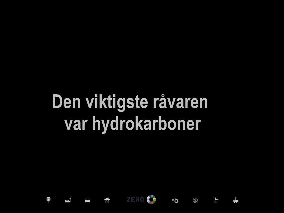 Den viktigste råvaren var hydrokarboner