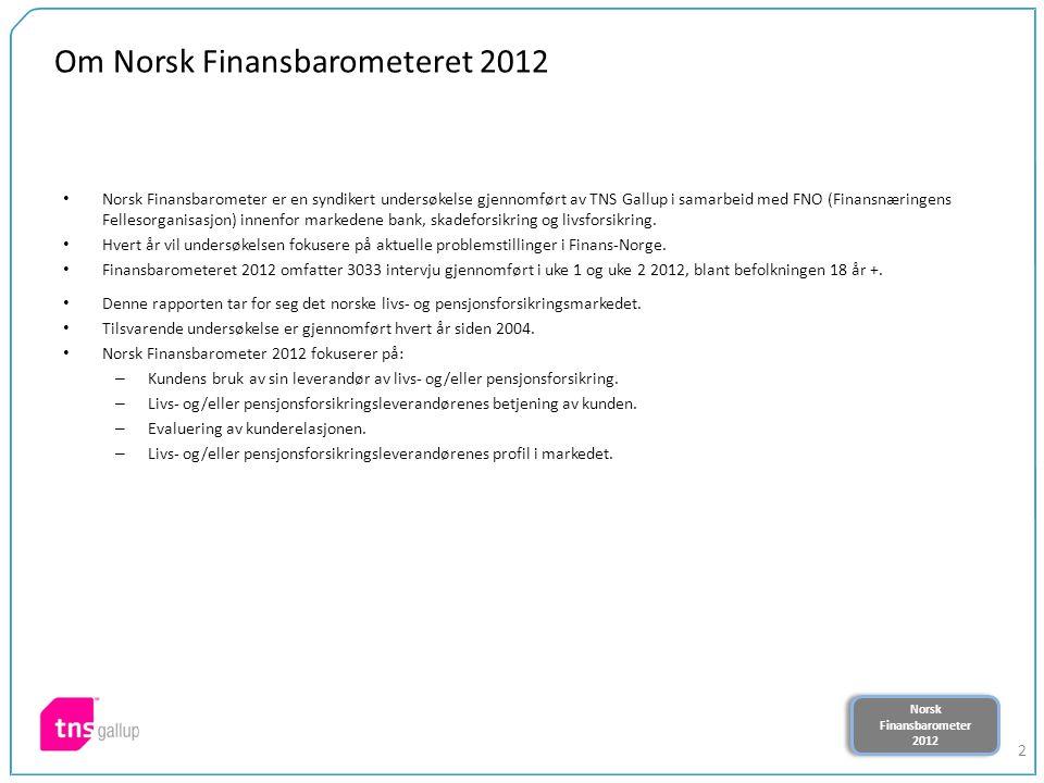 Norsk Finansbarometer 2012 Norsk Finansbarometer 2012 2 Om Norsk Finansbarometeret 2012 Norsk Finansbarometer er en syndikert undersøkelse gjennomført av TNS Gallup i samarbeid med FNO (Finansnæringens Fellesorganisasjon) innenfor markedene bank, skadeforsikring og livsforsikring.