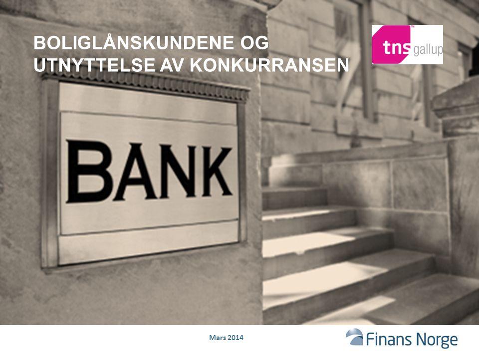 Mars 2014 TNS Gallup gjennomførte i februar 2014 en undersøkelse for Finans Norge for å belyse nordmenns utnyttelse av konkurransen på boliglånsmarkedet 2 Bakgrunn: