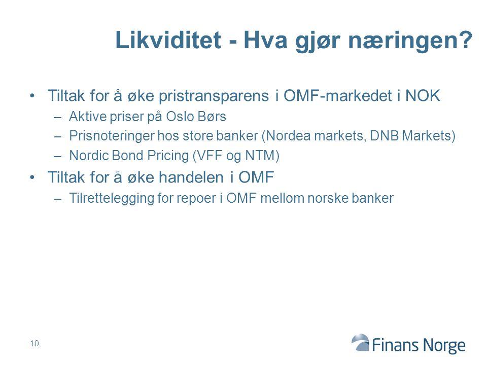 Tiltak for å øke pristransparens i OMF-markedet i NOK –Aktive priser på Oslo Børs –Prisnoteringer hos store banker (Nordea markets, DNB Markets) –Nord