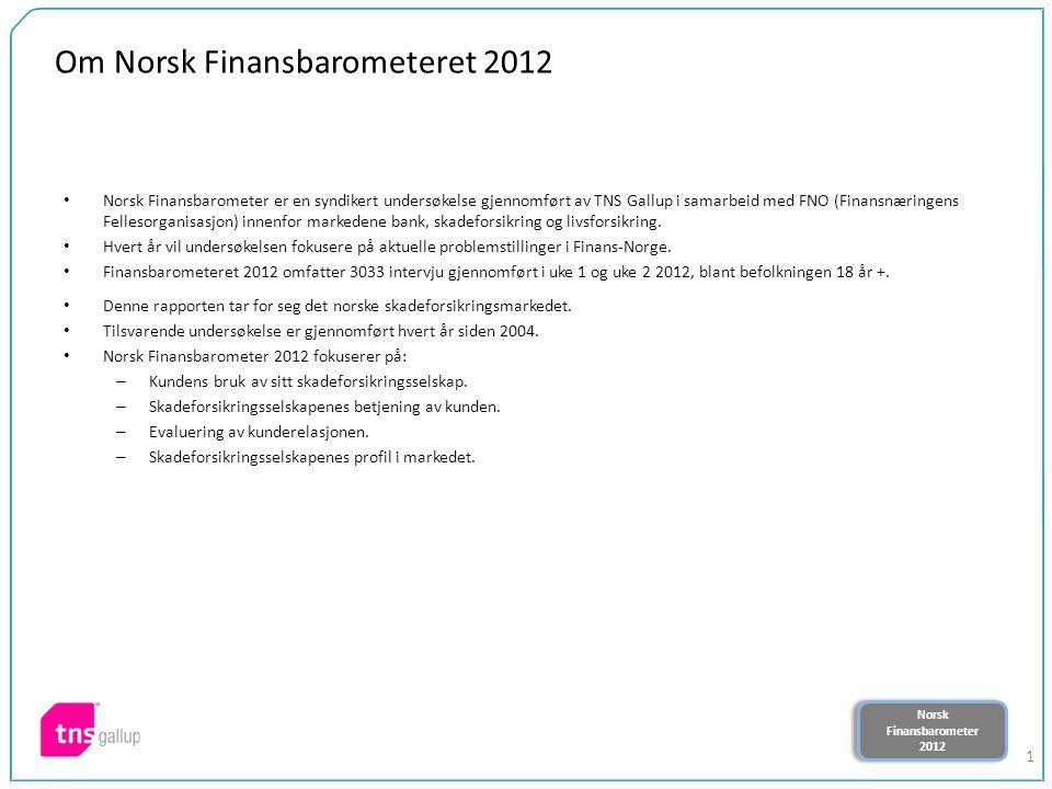 Norsk Finansbarometer 2012 Norsk Finansbarometer 2012 12 Har du en fast kontaktperson i ditt/dine forsikringsselskap.