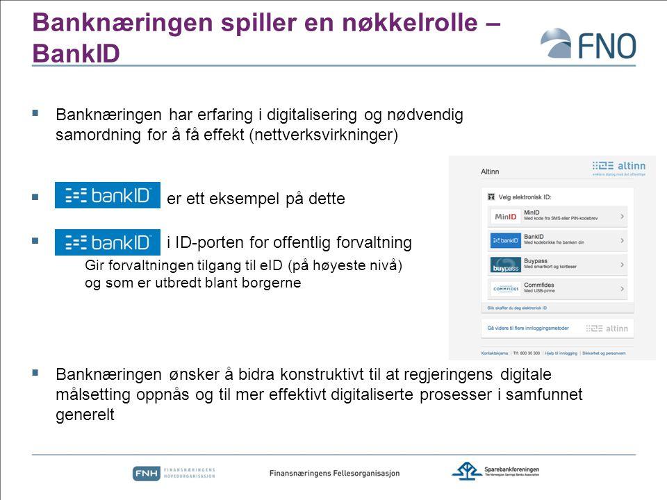 Banknæringen spiller en nøkkelrolle – BankID  Banknæringen har erfaring i digitalisering og nødvendig samordning for å få effekt (nettverksvirkninger)  er ett eksempel på dette  i ID-porten for offentlig forvaltning Gir forvaltningen tilgang til eID (på høyeste nivå) og som er utbredt blant borgerne  Banknæringen ønsker å bidra konstruktivt til at regjeringens digitale målsetting oppnås og til mer effektivt digitaliserte prosesser i samfunnet generelt