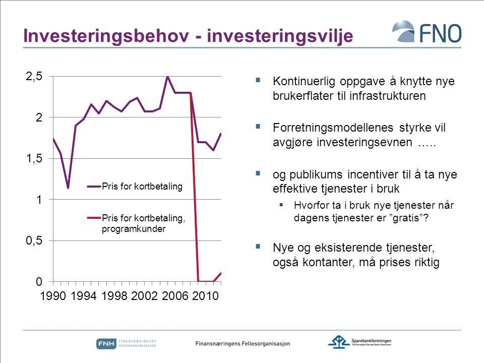 Investeringsbehov - investeringsvilje  Kontinuerlig oppgave å knytte nye brukerflater til infrastrukturen  Forretningsmodellenes styrke vil avgjøre investeringsevnen …..