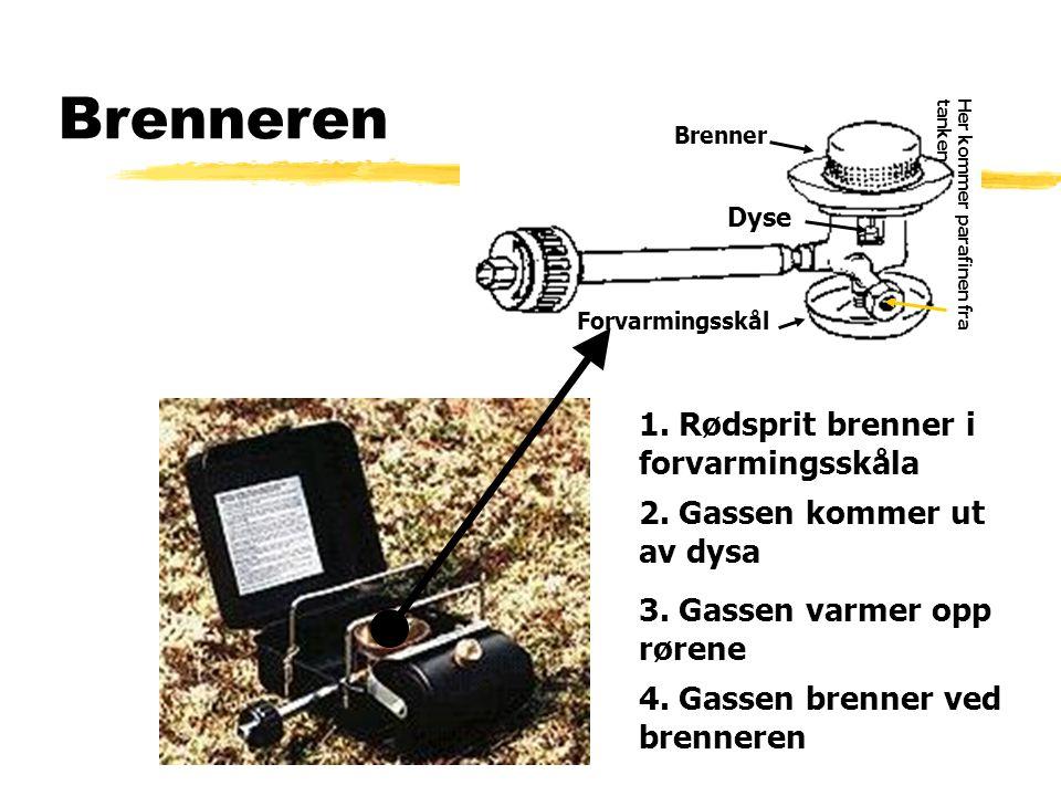 Brenneren Skisse over forvarmingsskålen, brenneren og reguleringshåndtaket