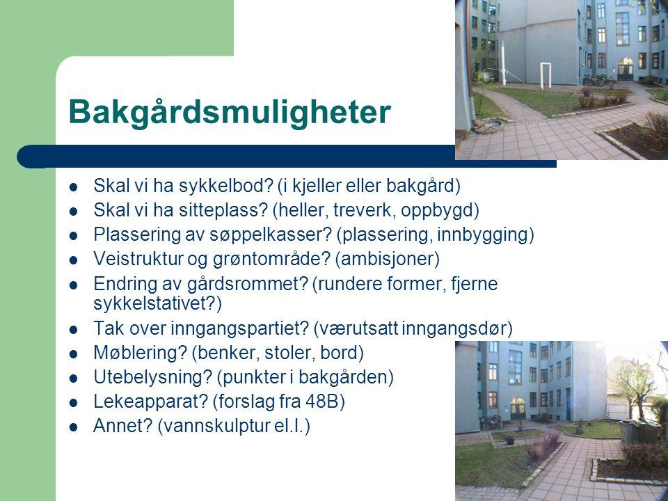 Bakgårdsmuligheter Skal vi ha sykkelbod? (i kjeller eller bakgård) Skal vi ha sitteplass? (heller, treverk, oppbygd) Plassering av søppelkasser? (plas
