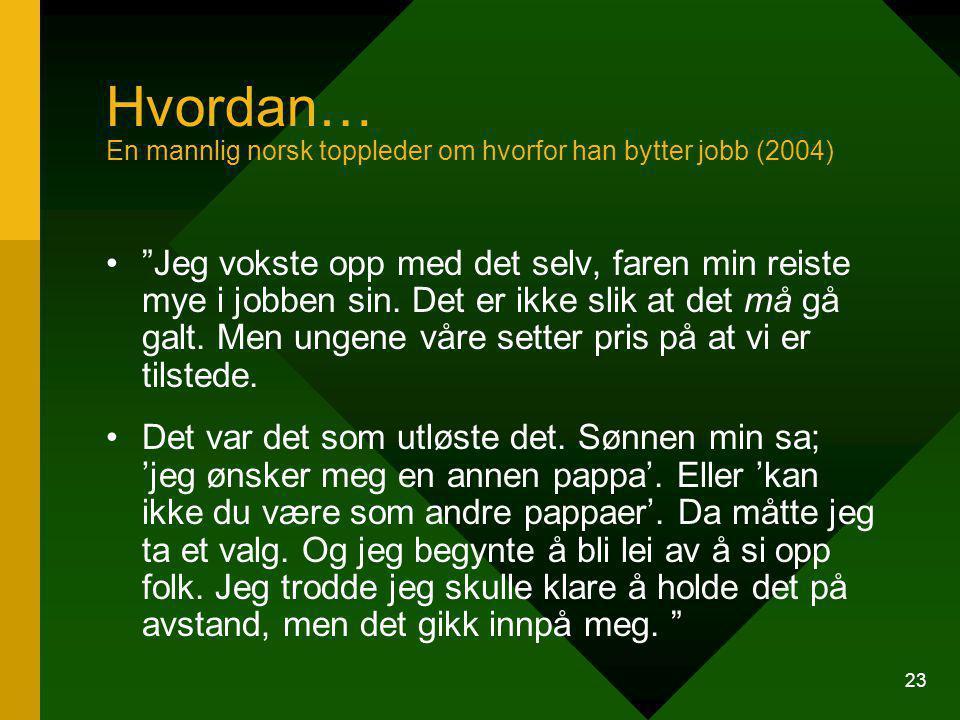 23 Hvordan… En mannlig norsk toppleder om hvorfor han bytter jobb (2004) Jeg vokste opp med det selv, faren min reiste mye i jobben sin.