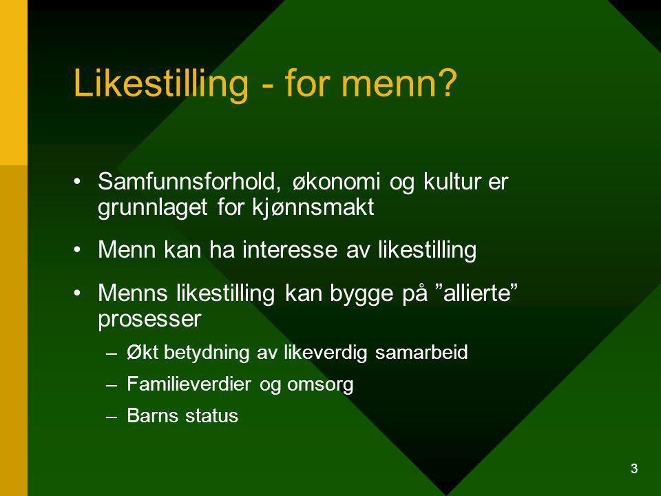 4 Boka oppsummerer nordisk forskning 1980-2003 I dag finnes to nordiske prosjekter - sosiologisk prosjekt om velferd, maskulinitet og innovasjon - kulturprosjekt om maskuliniteter (2002-05) og et norsk prosjekt: Kjønn, mestring og deltakelse (2003-07)