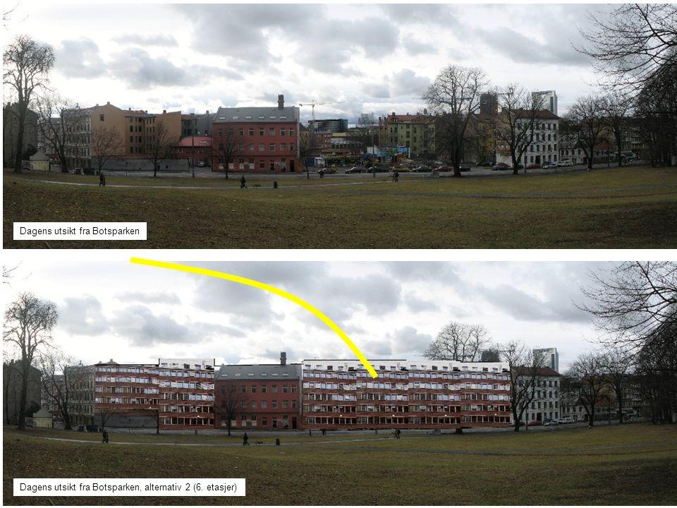 Dagens utsikt fra Botsparken Dagens utsikt fra Botsparken, alternativ 3 (8 etasjer)