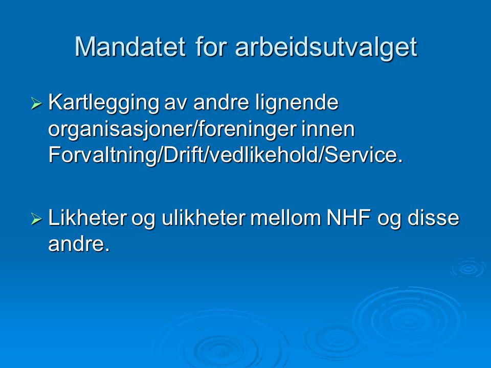 Mandatet for arbeidsutvalget  Kartlegging av andre lignende organisasjoner/foreninger innen Forvaltning/Drift/vedlikehold/Service.  Likheter og ulik