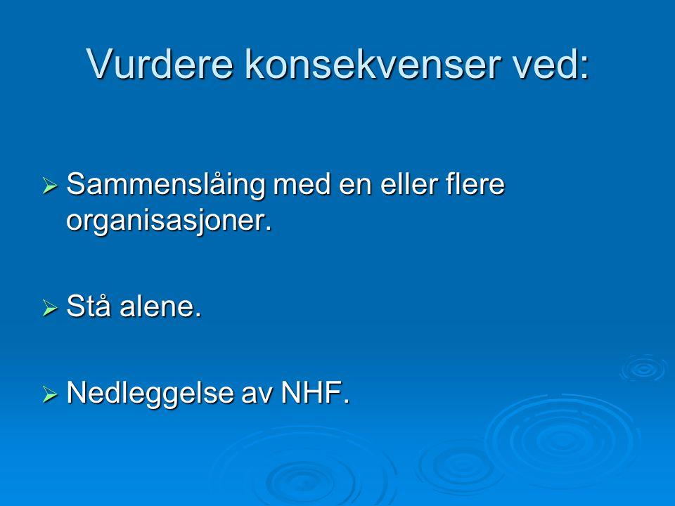 Vurdere konsekvenser ved:  Sammenslåing med en eller flere organisasjoner.  Stå alene.  Nedleggelse av NHF.