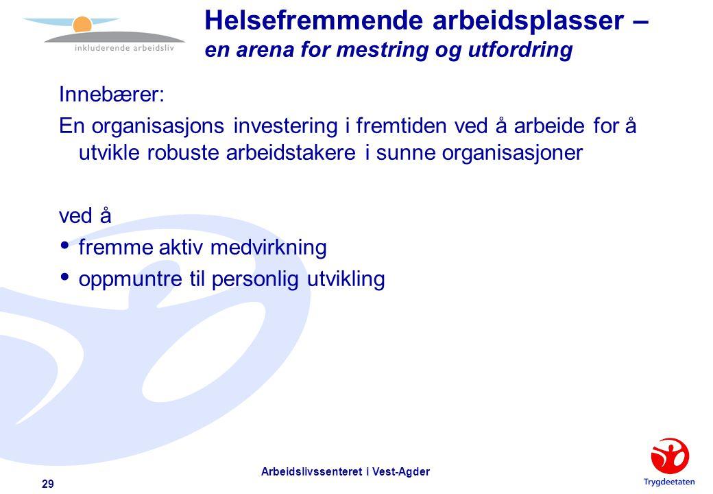 Arbeidslivssenteret i Vest-Agder 28 Psykologiske jobbkrav Einar Thorsrud  at arbeidet er variert  muligheter for læring  å kunne fatte egne beslutn