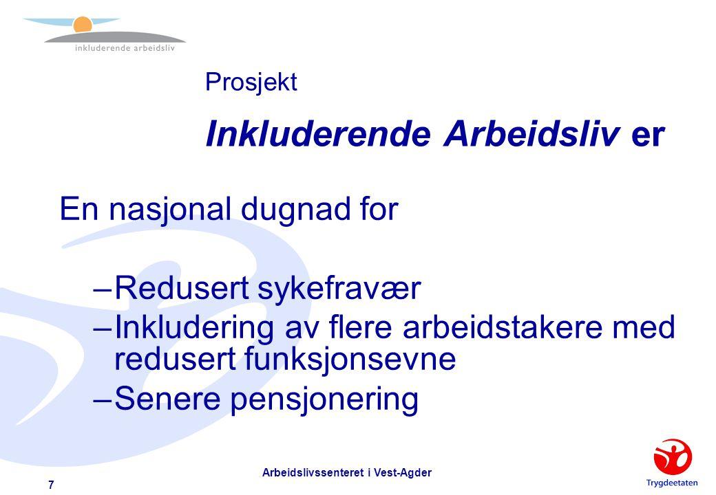 Arbeidslivssenteret i Vest-Agder 6 Norge i et internasjonalt perspektiv  Sykefravær –Hvert år går det tapt ca 200.000 årsverk –Totalt økte fraværet m
