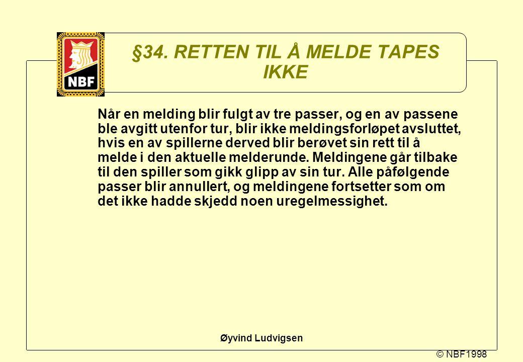 © NBF1998 Øyvind Ludvigsen §34. RETTEN TIL Å MELDE TAPES IKKE Når en melding blir fulgt av tre passer, og en av passene ble avgitt utenfor tur, blir i