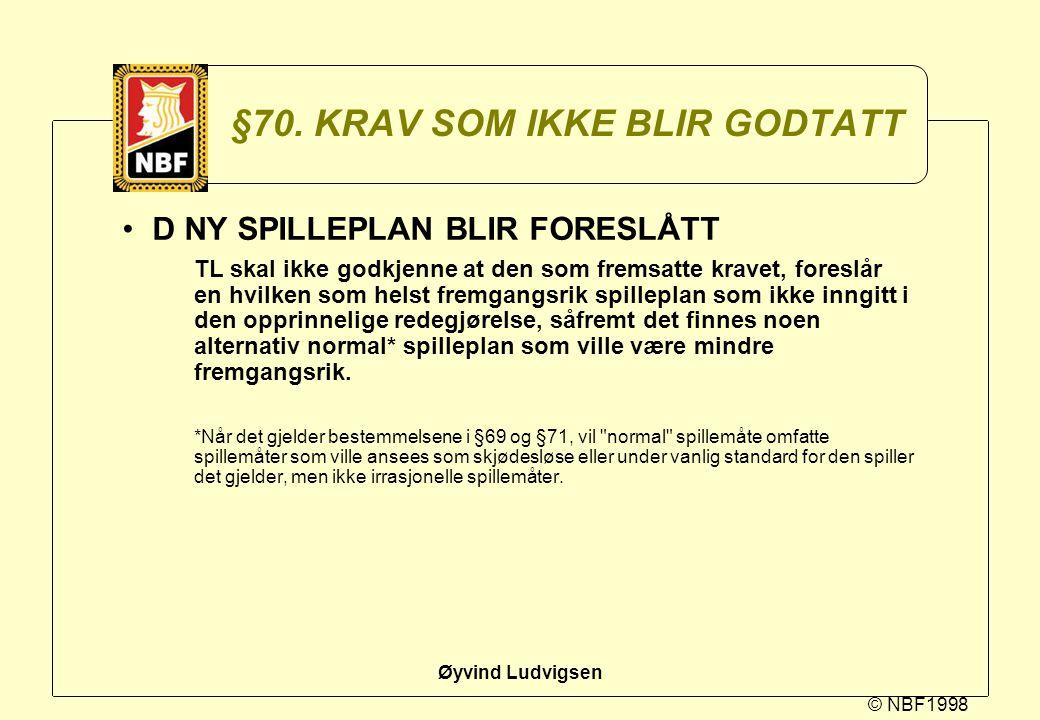 © NBF1998 Øyvind Ludvigsen §70. KRAV SOM IKKE BLIR GODTATT D NY SPILLEPLAN BLIR FORESLÅTT TL skal ikke godkjenne at den som fremsatte kravet, foreslår