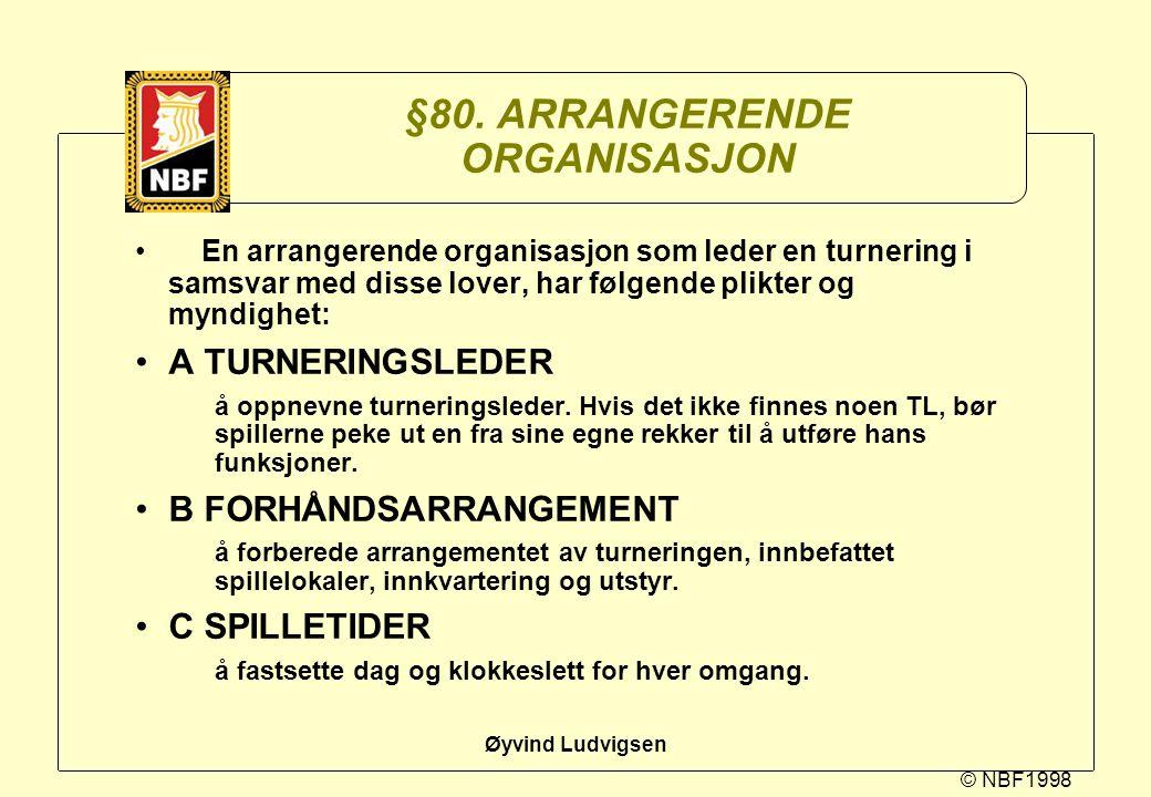 © NBF1998 Øyvind Ludvigsen §80. ARRANGERENDE ORGANISASJON En arrangerende organisasjon som leder en turnering i samsvar med disse lover, har følgende