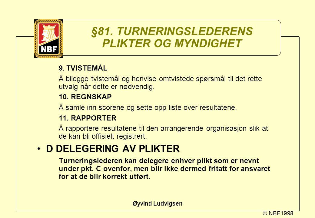© NBF1998 Øyvind Ludvigsen §81. TURNERINGSLEDERENS PLIKTER OG MYNDIGHET 9.TVISTEMÅL Å bilegge tvistemål og henvise omtvistede spørsmål til det rette u