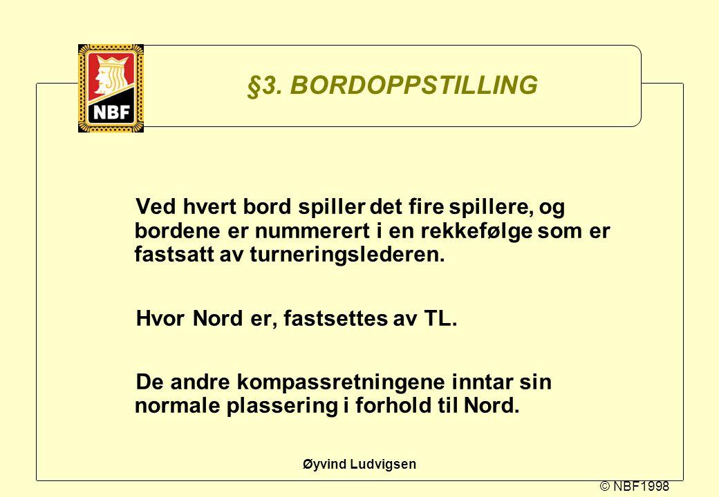 © NBF1998 Øyvind Ludvigsen §3. BORDOPPSTILLING Ved hvert bord spiller det fire spillere, og bordene er nummerert i en rekkefølge som er fastsatt av tu